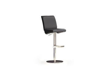 Barová židle VICKY III._nerez, kruh, pravá kůže