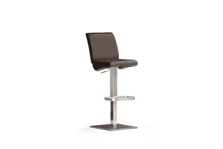 Barová židle VICKY V_pravá kůže hnědá_nerezová čtvercová podnož i noha_obr. 1