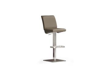 Barová židle VICKY V._nerez, čtverec, pravá kůže