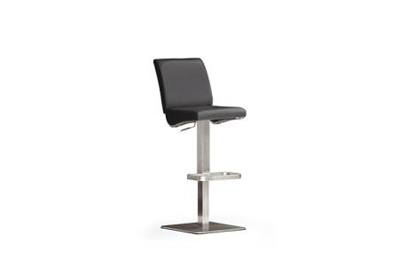 Barová židle VICKY V_pravá kůže černá_nerezová čtvercová podnož i noha_obr. 3