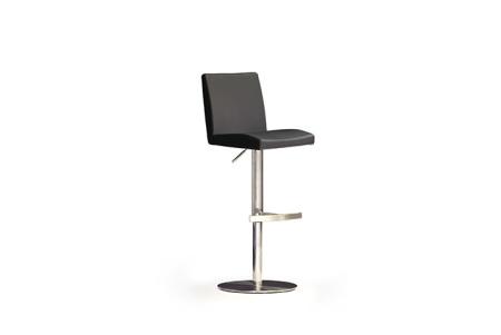 Barová židle LARA III_pravá kůže černá, podnož nerez kruh_obr. 2