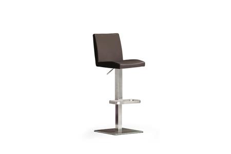 Barová židle LARA V_pravá kůže hnědá_nerezová čtvercová podnož i noha_obr. 1
