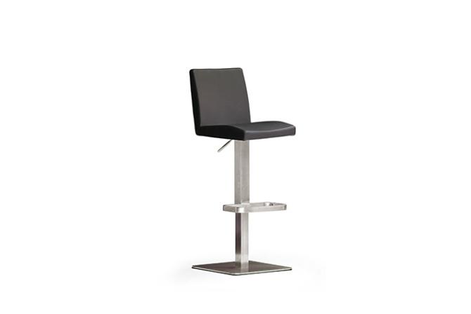 Barová židle LARA IV_pravá kůže černá_nerezová čtvercová podnož i noha_obr. 3