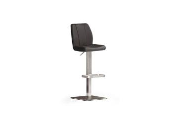 Barová židle NINA V._nerez, čtverec, pravá kůže