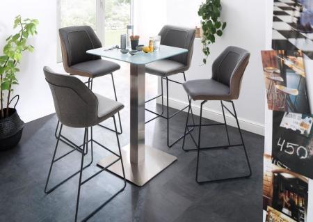 Barová židle DANE v interieru, šedé nebo hnědé čalounění_obr. 1