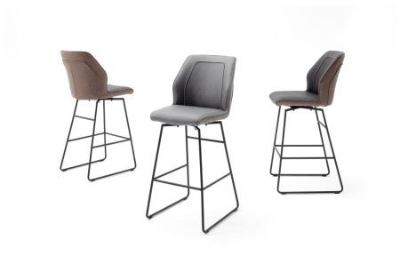 Barová židle DANE, šedé nebo hnědé čalounění_podnož antracit_obr. 2