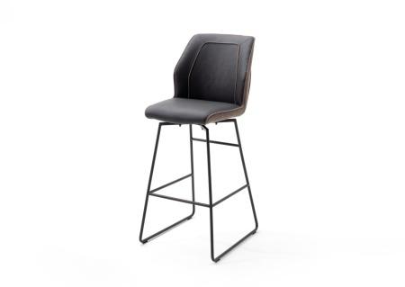 Barová židle DANE, hnědé čalounění_podnož antracit_obr. 3