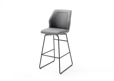 Barová židle DANE, šedé čalounění_podnož antracit_obr. 4