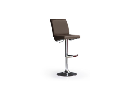 Barová židle LARA I_imitace kůže hnědá_podnož chromovaná kulatá_obr. 1