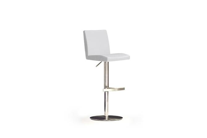 Barová židle LARA II._nerez, kruh, imitace kůže