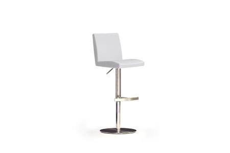 Barová židle LARA II_imitace kůže bílá, podnož nerez kruh_obr. 1