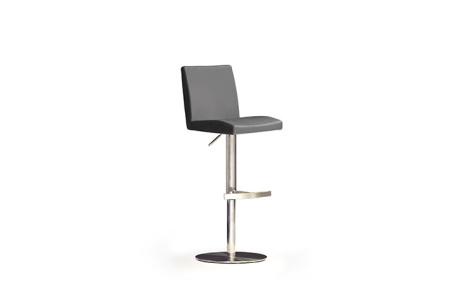 Barová židle LARA II_imitace kůže šedá, podnož nerez kruh_obr. 5
