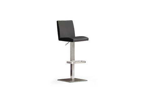Barová židle LARA IV_imitace kůže černá_nerezová čtvercová podnož i noha_obr. 3