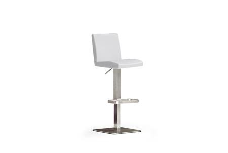 Barová židle LARA IV_imitace kůže bílá_nerezová čtvercová podnož i noha_obr. 4