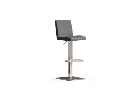 Barová židle LARA IV_imitace kůže šedá_nerezová čtvercová podnož i noha_obr. 5
