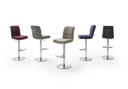 Barová židle MAYLAND, látka_vzhled žinilka_podnož kulatá nerez broušený_barevná škála_obr. 1