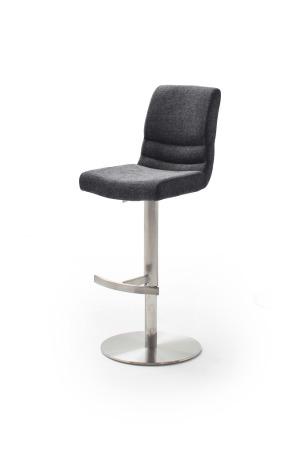 Barová židle MAYLAND, látka_vzhled žinilka antracit_podnož kulatá nerez broušený_obr. 2