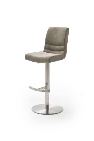 Barová židle MAYLAND, látka_vzhled žinilka cappuccino_podnož kulatá nerez broušený_obr. 3