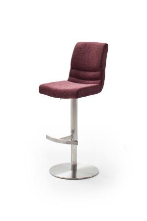 Barová židle MAYLAND, látka_vzhled žinilka merlot_podnož kulatá nerez broušený_obr. 4