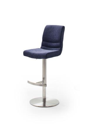 Barová židle MAYLAND, látka_vzhled žinilka modrá_podnož kulatá nerez broušený_obr. 5