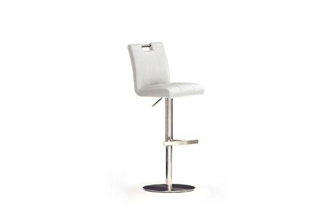 Barová židle MIA II._nerez, kruh, imitace kůže
