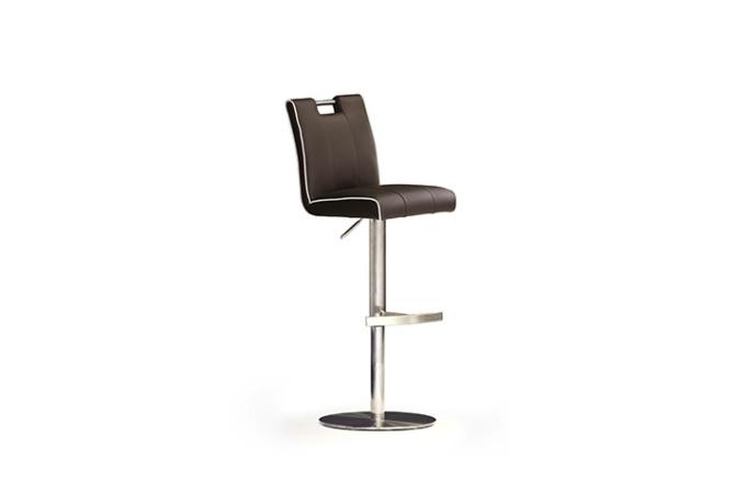 Barová židle MIA III._nerez, kruh, pravá kůže