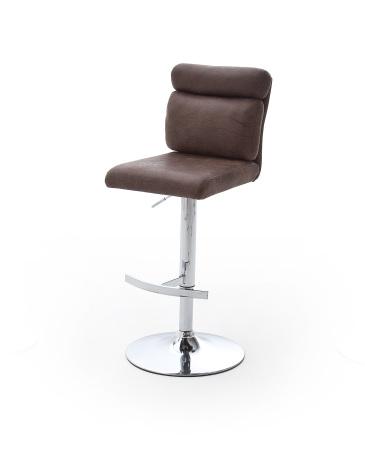 Barová židle MONI_pochromovaná podnož_čalounění látka hnědá_obr. 1