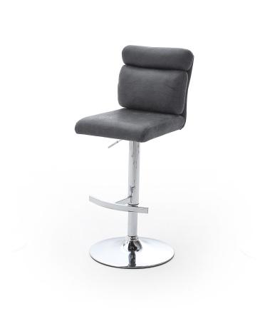 Barová židle MONI_pochromovaná podnož_čalounění látka šedá_obr. 2