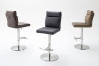 Barová židle SONIA_imitace kůže_nerez_kruh_barevné varianty hnědá_šedá_písková_obr. 1