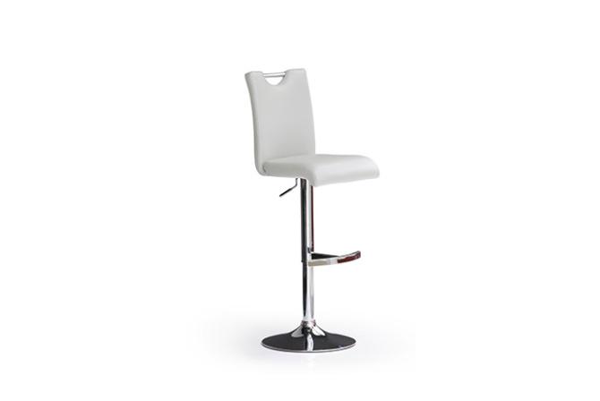 Barová židle SOUL I_ imitace kůže bílá_podnož chromovaná kruh_obr. 1