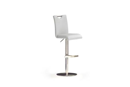 Barová židle SOUL II, imitace kůže bílá_podnož nerez kruh_obr. 1