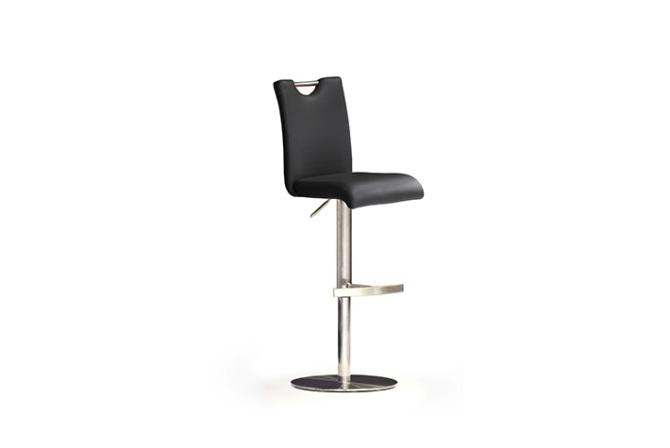 Barová židle SOUL III._nerez, kruh, pravá kůže