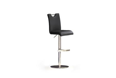 Barová židle SOUL III_ pravá kůže černá_podnož nerez kruh_obr. 1