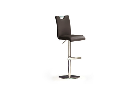 Barová židle SOUL III_ pravá kůže hnědá_podnož nerez kruh_obr. 3