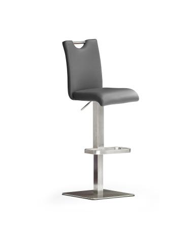 Barová židle SOUL IV_ imitace kůže šedá_podnož nerez čtverec_obr. 1