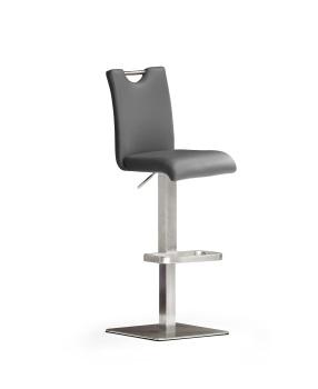 Barová židle SOUL IV._nerez, čtverec, imitace kůže
