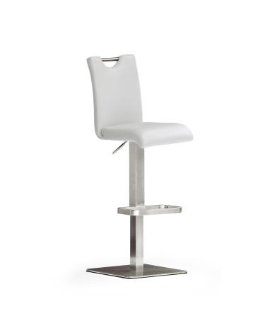 Barová židle SOUL IV_ imitace kůže bílá_podnož nerez čtverec_obr. 5