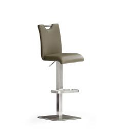 Barová židle SOUL V._nerez, čtverec, pravá kůže
