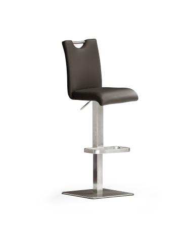 Barová židle SOUL V_ pravá kůže hnědá_podnož nerez čtverec_obr. 2