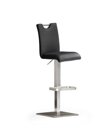 Barová židle SOUL V_ pravá kůže černá_podnož nerez čtverec_obr. 3