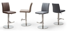 Barová židle VIVIEN_imitace kůže_nerez_kruh_barevná škála_obr. 1