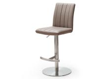 Barová židle VIVIEN_imitace kůže cappuccino_nerez_kruh_obr. 2