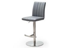 Barová židle VIVIEN_imitace kůže šedá_nerez_kruh_obr. 3