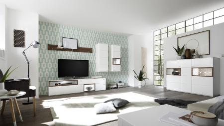 Obývací sestava BIANCO 411N51 + highboard 48, možnost volitelného LED osvětlení_bílý matný lak / ořech_obr. 3