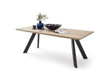 Jídelní stůl BOZEN_dub bělený masiv_podnoží lak ANTIK černý_obr. 5