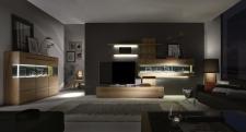 Celomasivní dubový nábytek DELGADO_návrh sestavy 18705 + highboard 187173_možnost volitelného LED osvětlení_noční pohled_obr. 2