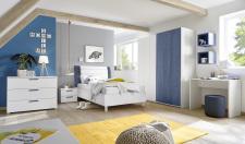 Dětský a studentský nábytek ESPERO (modrá varianta)_šatní skříň s posuvnými dveřmi (Vertiko-optika), š. 179 cm_postel 90 cm + čalouněný díl_noční stolek_psací stůl 90 cm_komoda_1x sada stěnových regálů_obr. 7
