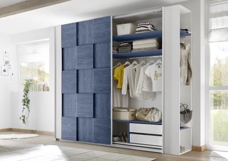Šatní skříň s posuvnými dveřmi ESPERO (3D-optika) 243x230 cm_otevřená_zásuvková vložka + police modré_typy _671705-243-B_674602-41_674602-243-7_obr. 13