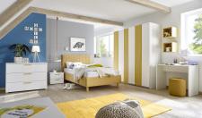 Dětský a studentský nábytek ESPERO (žlutá varianta)_šatní skříň s posuvnými dveřmi (Vertiko-optika), š. 179 cm_čalouněná postel čtverečkovaná 120 cm, noční stolek_komoda_psací stůl 90 cm_1x sada stěnových regálů_obr. 1