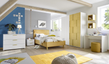 Dětský a studentský nábytek ESPERO (žlutá varianta)_šatní skříň s posuvnými dveřmi (3D-optika), š. 179 cm_čalouněná postel pruhovaná 120 cm, noční stolek_komoda_psací stůl 90 cm_1x sada stěnových regálů_obr. 2